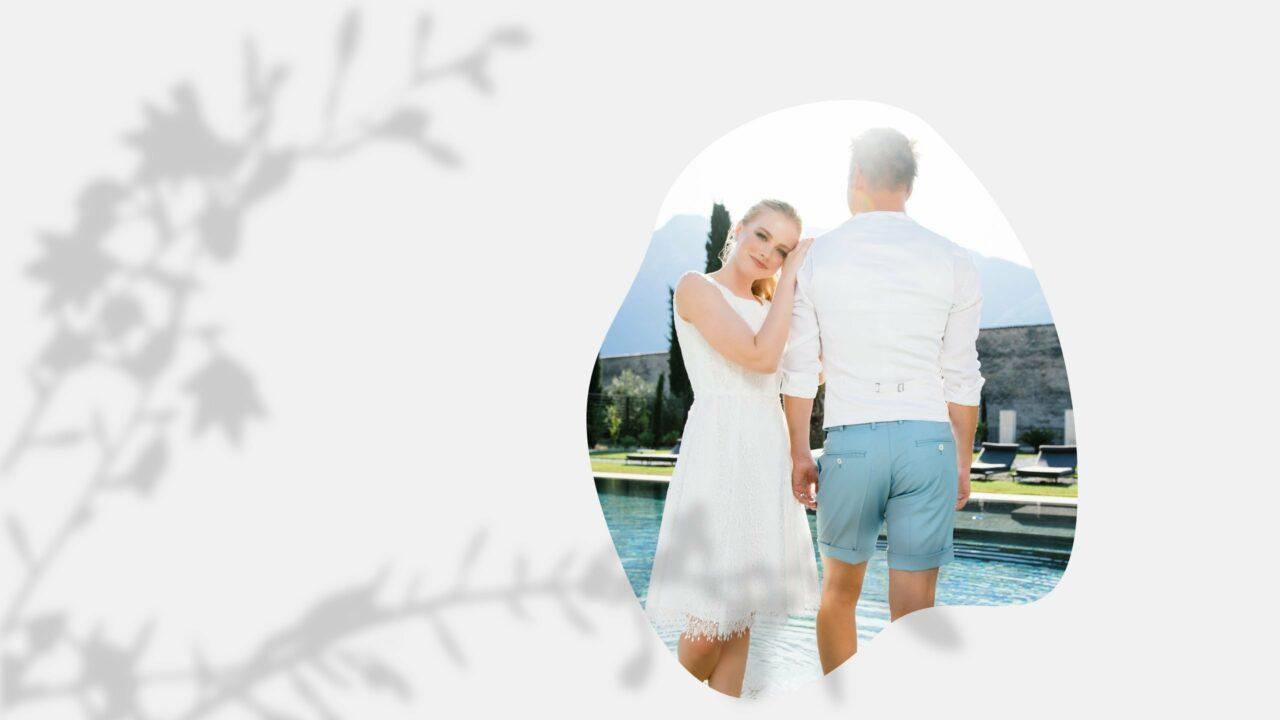 kurzes Hochzeitskleid aus receycelter Spitze zu zweit