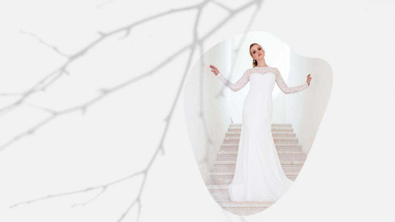 nachhaltiges Hochzeitskleid langärmlich in Spitze
