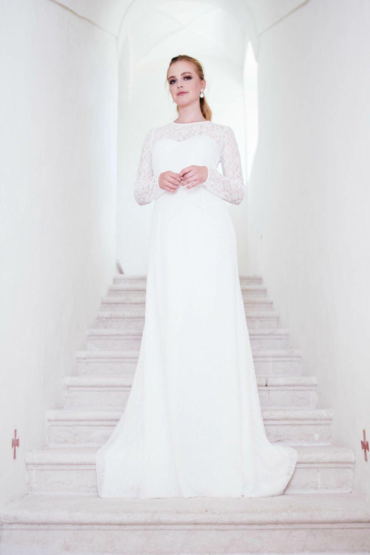 edles Hochzeitskleid mit Schleppe aus nachhaltigen Materialien