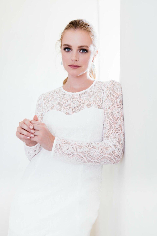 nachhaltiges Hochzeitskleid in Spitze mit Langarm