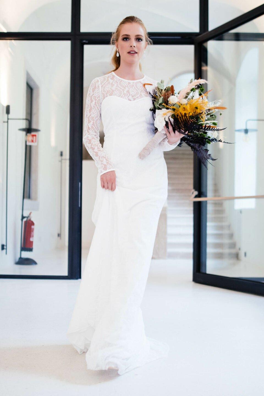 nachhaltiges Hochzeitskleid mit Langarm