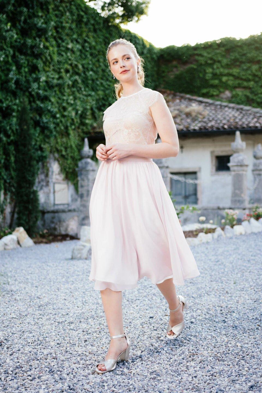 Kurzer Brautkleid Zweiteiler in Rosa