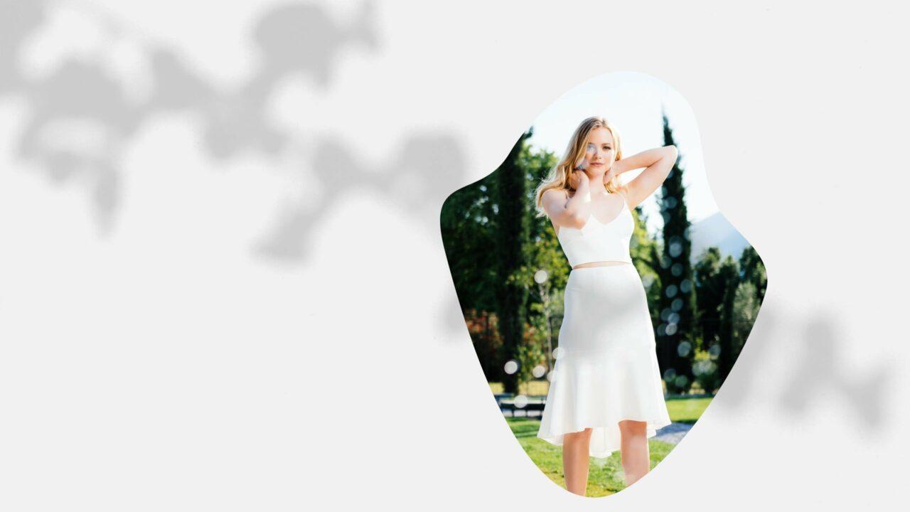 nachhaltiges Vokuhila Brautkleid mit Top